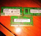 Memorias RAM DDR3 de 2GB para laptop $10 cada una