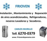 instalación, mantenimiento, reparación de aires acondicionados, neveras, lavadoras y secadoras
