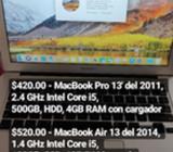 Macbook Pro 15', Pro 13' Y Air 13'