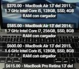 Macbook 12', Pro Retina 13' Y Air 13'