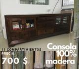 Consola de Madera 100% con 11 Gavetas