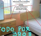 Cama Queen Colchon Box Espejo Tocador con Gavetas Todo a 380